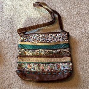 Crossbody cotton and faux leather purse